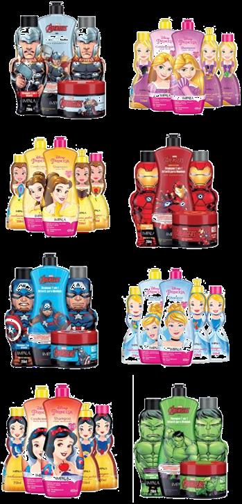As coleções Princesas e Vingadores trazem produtos para os cuidados com o cabelo e corpo das crianças. Crédito: Divulgação.